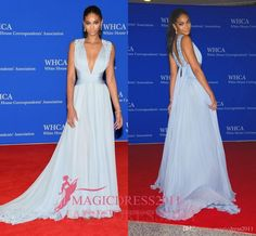 IMAN Blue Sleeveless Plunging RED CARPET DRESS 2016 Cannes Deep V-Neck Long Chiffon Crystal Beaded Celebrity Evening Formal Gowns Crystal Prom Evening Myriam Fares Golden Globe Sexy Luxury Formal Gowns Online with $123.0/Piece on Magicdress2011's Store | DHgate.com