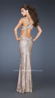 {La Femme 18723 | La Femme Fashion 2013} - La Femme Prom Dresses - Sequins - V Neck - Beaded Straps - Beaded Back - Open Back - Strappy Back- Fitted - Long Prom - Pageant - Cruise