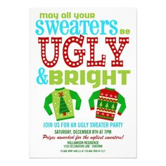 Ugly 'n Bright Christmas Sweater Party Invitation