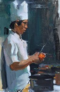 """chef by Robert Lemler Oil ~ 12"""" x 8"""""""