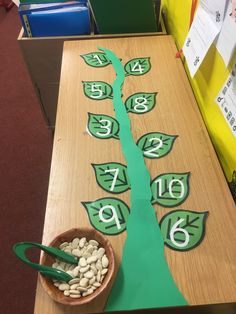 Jack and the Beanstalk Finger Gym. In this activity you have to put the right amount of beans onto the numbered leaves using the tweezers.