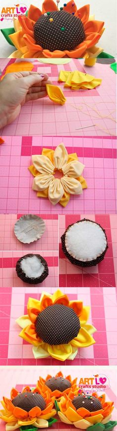 How to Make Sunflower Door Knobs with Fabric