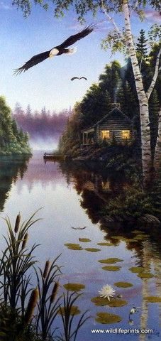 """A pair of Eagles soar over the lake next to a log cabin in Mark Daehlin's Serenity III This print is signed and is available unframed in size 9"""" x 19"""""""