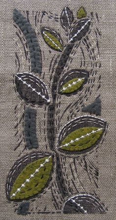 Print on linen, embellish with embroidery and wool applique Sashiko Embroidery, Japanese Embroidery, Embroidery Applique, Embroidery Stitches, Machine Embroidery, Sewing Stitches, Wool Applique, Cross Stitches, Fabric Postcards