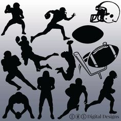 12 Football Silhouette Digital Clipart Images by OMGDIGITALDESIGNS
