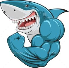 Vector illustration, toothy white shark shows biceps