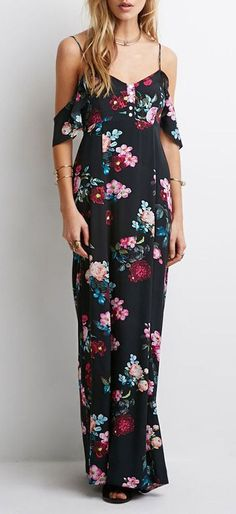 Black Spaghetti Strap Floral Print Maxi Dress