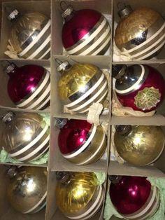12-Vintage-Shiny-Brite-Striped-UFO-Lantern-Multi-Color-Christmas-Balls