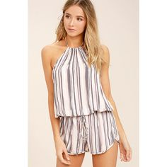 Beach Bound Blush Print Halter Romper (€45) ❤ liked on Polyvore featuring jumpsuits, rompers, striped romper, halter top, tie-dye rompers, halter-neck tops and striped halter top