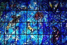 Stained glass windows by Chagall, in Nice, France.  Tres beaux.