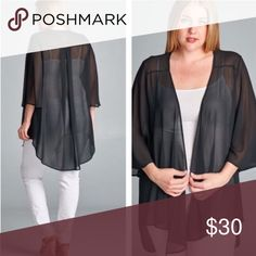 💥HP 7/13💥BEAUTIFUL SHEER CARDIGAN IN BLACK Gorgeous, feminine, sheer jackets to dress up or down. High low hem, center pleat in the back. 100% soft polyester. So pretty! CORAL & TAUPE IN SEPARATE LISTING tla2 Sweaters Cardigans