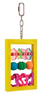 Slide-N-Spin Medium Bird Toy, Jungle Talk Pet Products -  Slide N Spin hangs on an ultra-tough quick-link perfect for any cage frame. The durable chewable wood frame is chock full of plastic playthings and fruit flavored wood chew shapes that slide and spin on dowel rods.