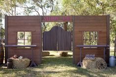 Set decor: guests are to enter the event through saloon doors. Use hay bales and wagon wheels as decorations