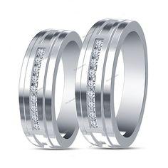 Mens Womens 14K White Gold Finish Round Diamond His/ Her Couple Wedding Band Set #tvsjewelery #EngagementWeddingAnniversaryPromiseValentines