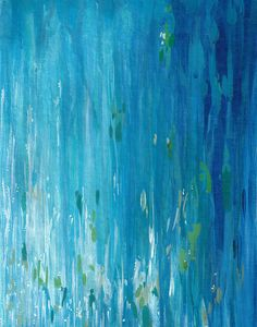 Shimmering Water II, fine art print, abstract blue and green painting, fine art reproduction, sparkling water, waterfall art