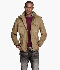 Dark beige cargo jacket with a hood that folds up into a collar. Chest pockets, shoulder tabs, and concealed drawstring. | H&M For Men