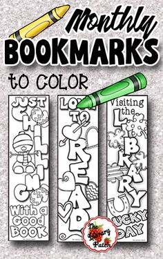 Bookmarks to Color Perfect for your coloring makerspace! Awesome gifts or sugarfree prizes.Perfect for your coloring makerspace! Awesome gifts or sugarfree prizes. School Library Lessons, Library Lesson Plans, Elementary School Library, Library Skills, Library Books, Elementary Schools, Library Ideas, Elementary Library Decorations, School Library Decor