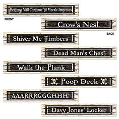 Get your pirate party going with these Pirate Street Sign Cutouts! These Pirate Street Sign Cutouts measure 4 inches by 24 inches Pirate Party Decorations, Pirate Decor, Pirate Theme, Party Themes, Party Ideas, Event Themes, Theme Ideas, Pirate Phrases, Pirate Signs