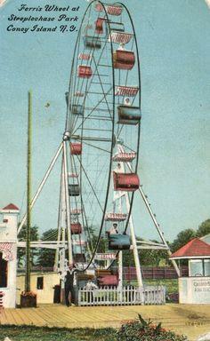 Ferris Wheel at Steeplechase Park on Coney Island in Brooklyn, New York (vintage, old, amusement park)