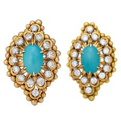 1stdibs - DAVID WEBB  DIAMOND AND TURQUOISE EARRINGS explore items from 1,700  global dealers at 1stdibs.com