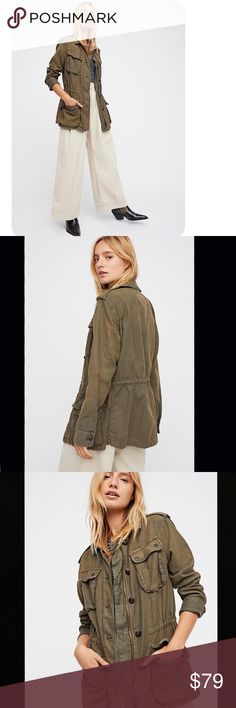 Free People Not Your Brother's Surplus Jacket Woven cotton jacket •NWOT– never worn •Spread collar •Button cuffs & shoulder panels  •Bust & front flap pockets •Tonal topstitching & panel seaming •Front zipper; button closure •Inside drawstring, adjustable at waist •100% cotton Free People Jackets & Coats Utility Jackets