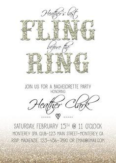 Glitter bachelorette party invite by RAWkonversations on Etsy, $12.00