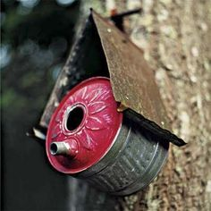 birdhouse made from reclaimed metal