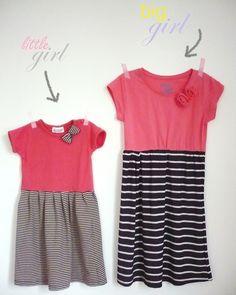 Aus alten T-Shirts hübsche Kleider für groß und klein nähen: http://emmabee.de/2012/06/04/diy-easypeasy-summer-dress/