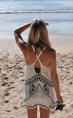 Dress: crochet aztec boho summer outfits top white bag cover up Summer Wear, Spring Summer Fashion, Summer Outfits, Spring Break, Summer 3, Hello Summer, Style Summer, Dress Summer, Summer Tops