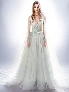 Beading Prom Dress V-neck Appliques Brush Train Sleeveless Tulle Prom Dress # VB1022