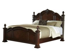 Churchill Traditional Brown Wood Queen Poster Bed