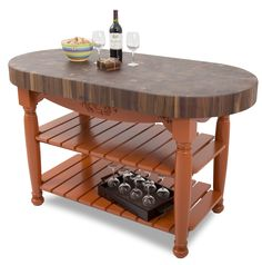 "Boos+Walnut+Harvest+Table+-+60""+x+30""+Oval,+4""+End-Grain+Butcher+Block at…"