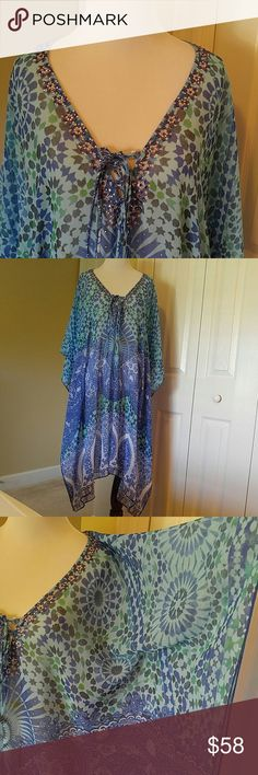 Boston Proper Cover Up🌴  NWOT Beautiful shades of Blue and Green on this cover-up. Has beading on the neckline and a tie. Really pretty your sure to get lots of compliments👙 Boston Proper Swim Coverups