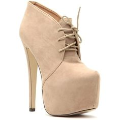 Taupe Faux Suede Lace Up Sky High Platform Booties ($32) ❤ liked on Polyvore featuring shoes, boots, ankle booties, heels, sapatos, zapatos, heel boots, taupe booties, taupe lace up booties and high heel platform boots