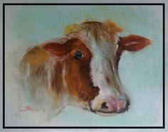 Roodbonte koe - soft pastel op papier
