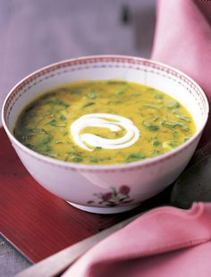 Red Lentil Soup with Lime and Spinach