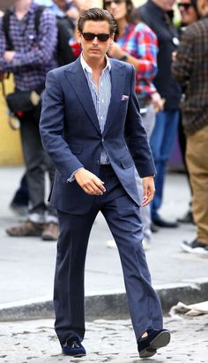 Scott Disick wearing Tom Ford Snowdon Sunglasses and Arfango Velvet Quilted Tassel Loafers