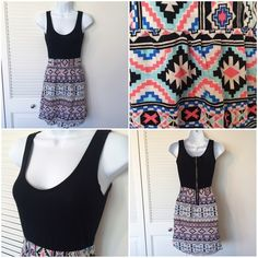 """Bee Stitched (boutique) dress with tribal pattern Bee Stitched (boutique) absolutely adorable dress with tribal pattern skirt and black. Exposed zipper in back.   Size S. 100% polyester.   Flat measurements: Width armpit to armpit 13"""" / Length shoulder to bottom 33"""" Bee Stitched Dresses"""