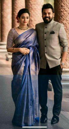 Bridal Sarees South Indian, Bridal Silk Saree, Indian Bridal Outfits, Indian Bridal Fashion, Indian Fashion Dresses, Kerala Wedding Saree, Saree Wedding, Kerala Engagement Dress, Engagement Saree
