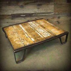 Vintage Industrial Factory Rocker Railroad Cart Platform Pallet Coffee Table