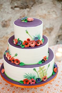 Whimsical Floral Wedding Cake