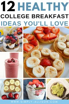12 Mouthwatering College Breakfast Ideas - Simply Allison Breakfast is the most important meal of the day. Here are some delicious, easy and healthy breakfast ideas that you can cook in your dorm room. Healthy Breakfast On The Go, Clean Eating Breakfast, Healthy Breakfast Smoothies, Healthy Breakfasts, Quick Breakfast Ideas, School Breakfast, Breakfast Muffins, Healthy Lunches, Breakfast Casserole