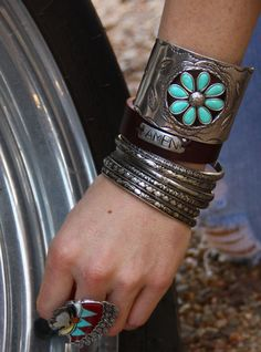 turquoise daisy cuff