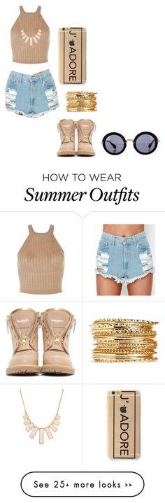 """Summer Outfit"" by faithaisha on Polyvore featuring Balmain, Rivka Friedman and Miu Miu"