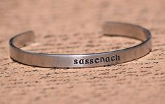 Sassenach - Scottish Gaelic Aluminum Bracelet Cuff - Hand Stamped #bangle #bracelet #outlander