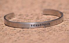 Sassenach - Scottish Gaelic Aluminum Bracelet Cuff - Hand Stamped #bangle #bracelet #outlander