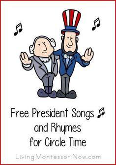 FREE President Songs and Rhymes for Circle Time. Fun for President's Day! Free president songs for Presidents' Day, presidential elections, Inauguration Day, and president unit studies; president songs for a variety of ages Preschool Music, Preschool Lessons, Preschool Activities, Library Activities, Preschool Class, Teaching Music, Winter Activities, Therapy Activities, Educational Activities