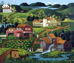 """The red and white Burma Shave sign can be seen roadside in the distance in Charles Wysocki's Legacy Print BURMA ROAD, done in his primitive Americana style. """"Way back in 1925, Allan Odell pitched this"""