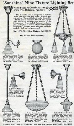 1920s lighting fixtures. This set came with the 1920s Harris Brothers Kit Home