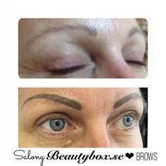Permanent makeup av ögonbryn gjorda av vår pmu stylist @salongbeautyboxveronica Veronica har först skuggat brynen för att sedan när dem har läkt använt sig utav handmetoden/microblading. Små smala strån(3D metoden)som tatueras in och blir super snyggt när man har skuggat formen innan. Färgen kommer att blekna 30-40% och mer information finns på hemsidan #teamsalongbeautybox #salongbeautybox #beautyboxbloggen #beautybox #eyebrows #brows #browshape #browtattoo #browsonfleek #browsonpoint #pmu…